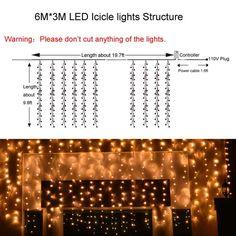 Coupon Codes Ledertek Warm White Curtain Icicle String Lights 750 Led 6 X 3m Fairy Decorative Christmas Lighting Save 60 Off