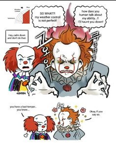 Penny y Pennywise two cents - Mal temperamento - Wattpad Scary Movie Characters, Scary Movies, Clown Names, Le Clown, Pennywise The Dancing Clown, Slasher Movies, Funny Horror, Horror Comics, Funny Comics