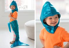 A colorful mermaid pattern for children to dress up as a little mermaid. Sew it using Coats Dual Duty XP.