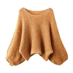 Fall Leaf Knitted Round Neck Jumper ($23) ❤ liked on Polyvore featuring tops, sweaters, brown, beige sweater, short sweater, jumpers sweaters, jumper top and 3/4 length sleeve tops