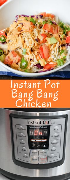 Instant Pot Bang Bang Chicken comes together in minutes and is so delicious! The classic spicy sauce is perfect on shredded chicken which can be used in rice bowls, salads, wraps, or however you want! Bang Bang Shrimp, Bang Bang Chicken, Chicken Instant Pot Recipe, Yogurt Instant Pot Recipe, Instant Pot Dinner Recipes, Healthy Shredded Chicken Recipes, Shredded Chicken Salads, Recipes Using Tofu, Shredded Chicken Sandwiches