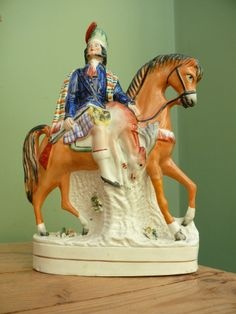ANTIQUE 19thc STAFFORDSHIRE FIGURE OF HIGHLAND HUNTSMAN ON HORSEBACK WITH STAG