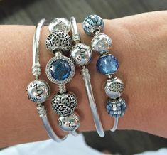 Sky-blue beauties, Essence Balance beads are new and look lovely with Radiant Hearts and the Friendship bead. #pandorabracelets #silverbangles #essence #beads #motherofpearl #skyblue #pretties #blue #crystals #hearts #love #pretties #lovemyjob #blue #pandoraaddict #theofficialpandora