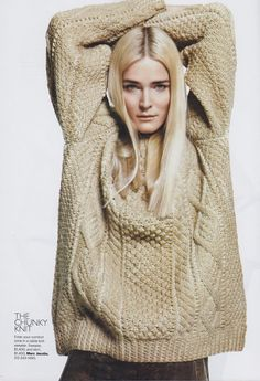Great chunky cable sweater.