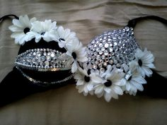 Black and White Daisy Bra by PartyMonsterAvenue on Etsy #IHEARTRAVES  #IHEARTRAVESFASHION