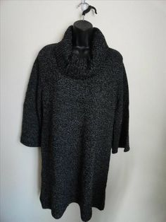 NEW Karen Scott Small Black Marled Knit Tunic Sweater Cowl NecK 3/4 Sleeve #KarenScott #CowlNeck