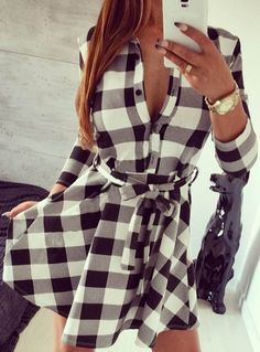 White, Large - Cupshe Sunset City Plaid Dress - $19.99