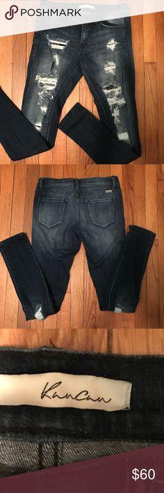 NWOT KanCan Estilo Destroyed Jeans NWOT KanCan Estilo Factory Destroyed Mid Rise Skinny Jeans Size 27 KanCan Jeans Skinny