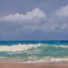Ocean, Sky and Shore, oil painting by artist Oriana Kacicek