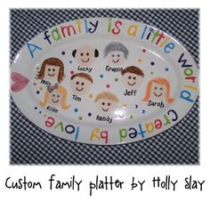 Personalized Family Platter - For Grandparents, Mothers, Families Sharpie Plates, Sharpie Pens, Pottery Painting, Ceramic Painting, Cool Gifts, Diy Gifts, Diy Projects For School, Marker Crafts, Adoption Gifts