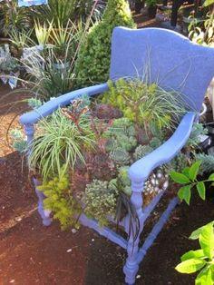 Garden Chairs, Balcony Garden, Garden Planters, Succulent Planters, Unique Gardens, Amazing Gardens, Beautiful Gardens, Garden Web, Garden Design