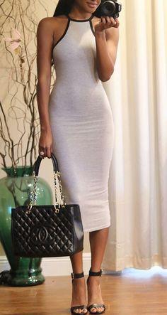 Elena Grey Bodycon Midi Dress