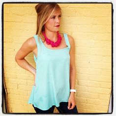 We LOVE this sky blue color top...