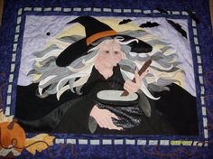 Fun Halloween quilts: Witch's Brew by Karen Polczynski, design by Joan Jones at Seams Like Home. This witch is busy stirring a cauldron of brew !