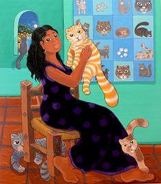 My Love of Cats by Ada Colorina - GINA Gallery of International Naive Art