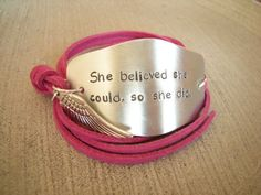 She believed she could, Graduation Gift, Motivational Quote wrap bracelet, Stamped inspirational bracelet, choose color of faux suede cord. $27.70, via Etsy.