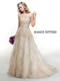 This light gold wedding dress, Chevonne, by Maggie Sottero has us swooning. The epitome of a romantic ballgown!