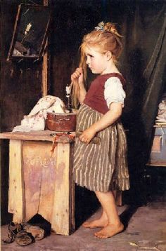 Agathe Rostel, Young Girl Combing Her Hair.