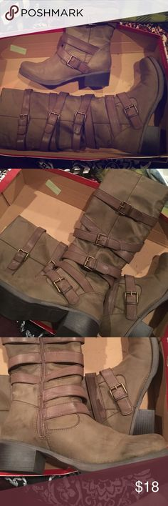 Unionbay Tall Buckle Boots Taupe color with gold hardware, Excellent condition, worn maybe twice. Has slight scuffs on sides of toes, pictured, but not really noticeable. They have a few other spots of distressing on them but that's how I bought them, I think they're meant to be that way. Box not included. Ask all questions before buying! UNIONBAY Shoes Heeled Boots