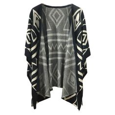 Chicnova Fashion Tribal Waterfall Cardigan (41 RON) ❤ liked on Polyvore featuring tops, cardigans, outerwear, jackets, ethnic print cardigan, waterfall cardigan, tribal top, bat sleeve cardigan and draped tops