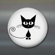 black cat magnet cat fridge magnet kitchen decor by WallCakes Pebble Painting, Dot Painting, Pebble Art, Stone Painting, Painted Rock Animals, Painted Rocks, Stone Crafts, Rock Crafts, Graffiti