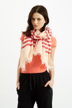 Striped Scarf in Coral