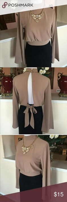 Mocha/nude lightweight blouse small Adorable bell sleeve dress top two buttons on back of neck ties in the bottom leaving an open back. Re posh way to small for me Tops Blouses