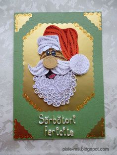 Quilled Santa Christmas card