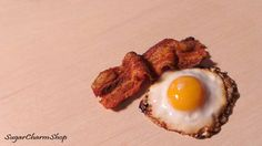 Polymer Clay Bacon and egg by sugarcharmshop