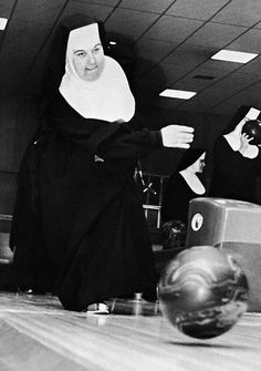 "From our occasional series ""Nuns and Balls"" - Sister Euphemia goes for another strike."