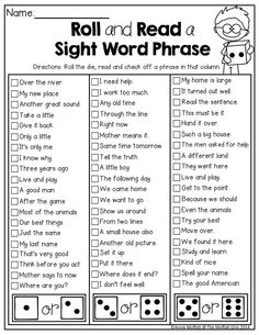 Roll and Read Sight Word Phrases! TONS of fun and hands-on resources for 2nd Grade!