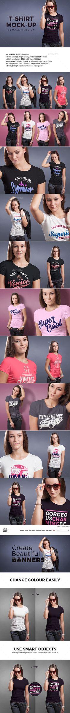 Female #T-shirt #Mock-up -#T-shirts Apparel