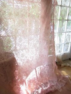 Vintage faded pink curtain panel ruflled edges  victorian romantic shabby chic prairie cottage chic