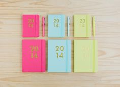 In fresh new season colours mint, lemon and fuchsia with delicious gold foil touches, these Leather #Diaries are the perfect balance between form and function. #diary #2014