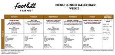 Week 2 Menu Lunch Calendar by Foothill Farms