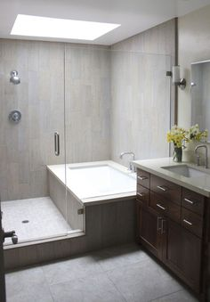 Combined Bath Shower Converted Into Separate Ones Gled In Together Used Wood Plank Looking Tile