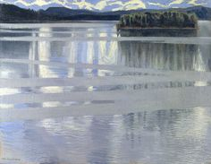 A beautiful oil painting of a Finnish landscape by national artist Akseli Gallen-Kallela. This is an image of Lake Kietele in central Finland, on display in London's National Gallery. Fondation Louis Vuitton, Landscape Art, Landscape Paintings, National Gallery, Seen, Art Uk, Kandinsky, Vincent Van Gogh, Canvas Frame