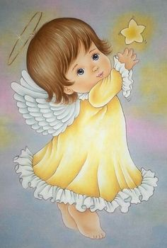 My shining star Angel Images, Angel Pictures, Tole Painting, Fabric Painting, I Believe In Angels, Christmas Drawing, Angels Among Us, Angel Art, Lorie