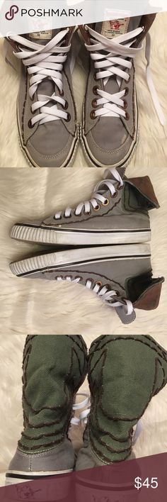 True Religion Hanabel Hi-Top Canvas Sneakers True Religion High Tops, size 8.5 Men's, gray/green/brown, blemishes shown in pics True Religion Shoes Sneakers