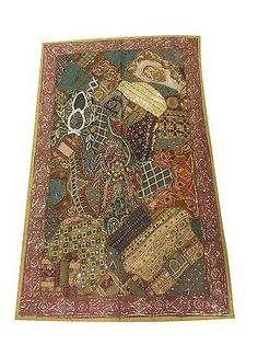 Vintage-Tapestry-Indian-Handmade-Embroidered-Patchwork-Banjara-Wall-Decor    http://stores.ebay.com/mogulgallery/WALL-HANGINGS-TAPESTRIES-/_i.html?_fsub=353416519&_sid=3781319&_trksid=p4634.c0.m322
