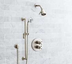 Warby Thermostatic Cross-Handle Hand-Held Shower Faucet Set, Satin Nickel Finish
