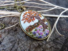 Embroidered pendant Four seasons autumn by EmbroideredJewerly