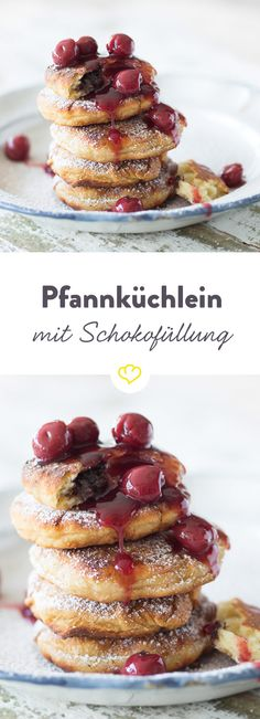 In diesen kleinen Küchlein gibt sich der Pfannkuchen seiner Liebe zur Schokolade ganz hin - was für ein Traumpaar!