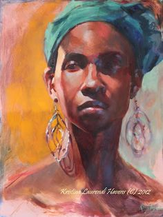 Portrait painting of an African American Model wearing a turquoise scarf and long silver earrings.  Started from the live model, finalized from a photo.  By Kristina Laurendi Havens aka Krystyna81