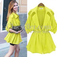 ChicSeller Long Sleeve Bright Green Lapel Belt Trench Coat