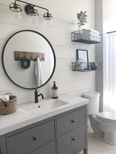 Vintage Ideas Stunning Modern Farmhouse Bathroom Decor Ideas 23 - For this reason, you've got to make sure the bath decor style you've chosen will blend nicely with the space […] Interior, Home Decor, Round Mirror Bathroom, Modern Bathroom, Bathroom Renovations, Modern Farmhouse Bathroom, Bathroom Design, Small Bathroom Remodel, Farmhouse Bathroom Decor