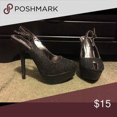 CLEARANCE - 8/$15! Shoes Black shimmer peep toe heels Shoes Heels