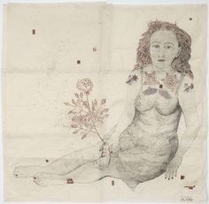Kiki Smith in New York City (2006)  Collage drawing with Nepalese paper, pencil, red ink and glitter  143 x 143 cm