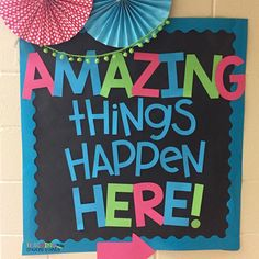 Because amazing things happen each and everyday! Inspired from . Preschool Bulletin Boards, Classroom Board, Classroom Bulletin Boards, School Classroom, Classroom Themes, Classroom Organization, Bullentin Boards, School Hallways, School Murals