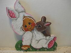 HP Gingerbread Spring time ginger with bunny Shelf Sitter hand painted